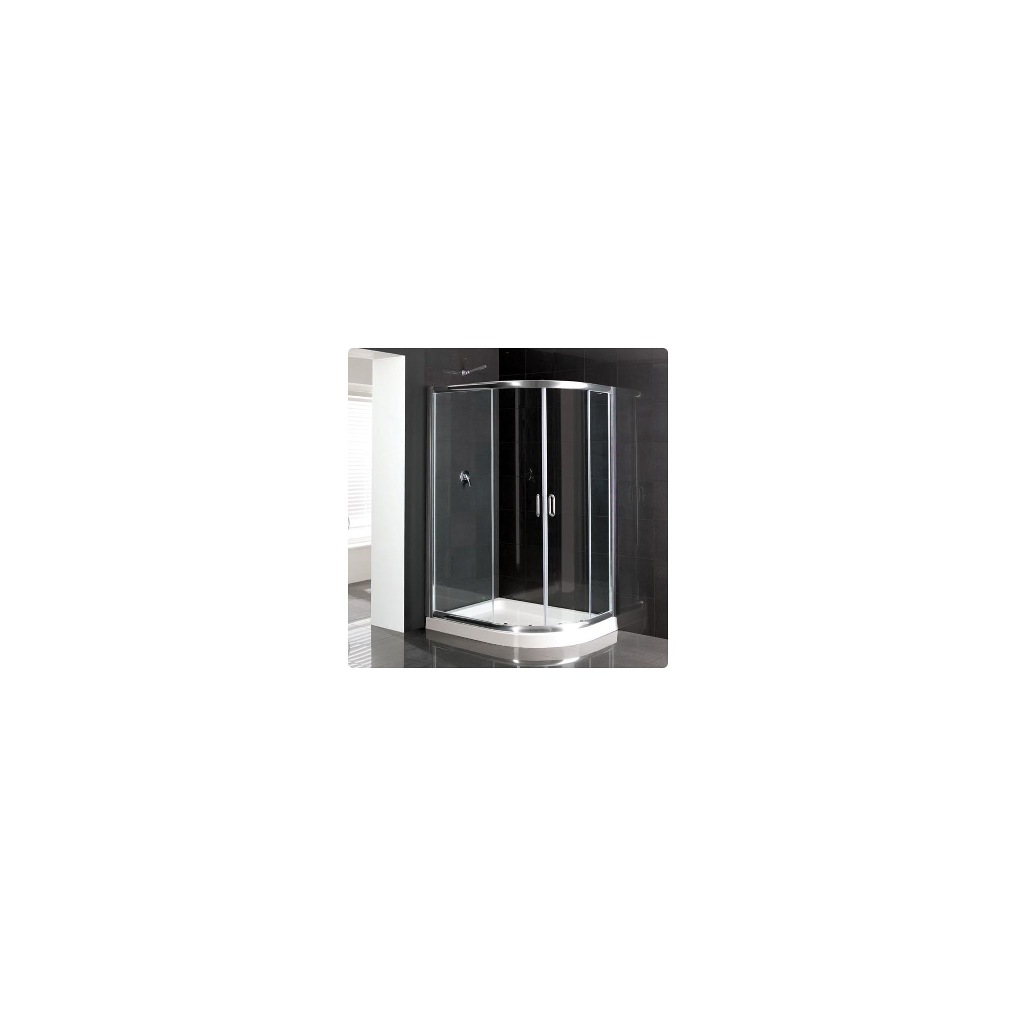 Duchy Elite Silver Offset Quadrant Shower Enclosure (Complete with Tray) 900mm x 760mm, 6mm Glass at Tesco Direct
