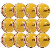12 Pack x Aero Incrediball Trainer Cricket Balls Red/Yellow Mens
