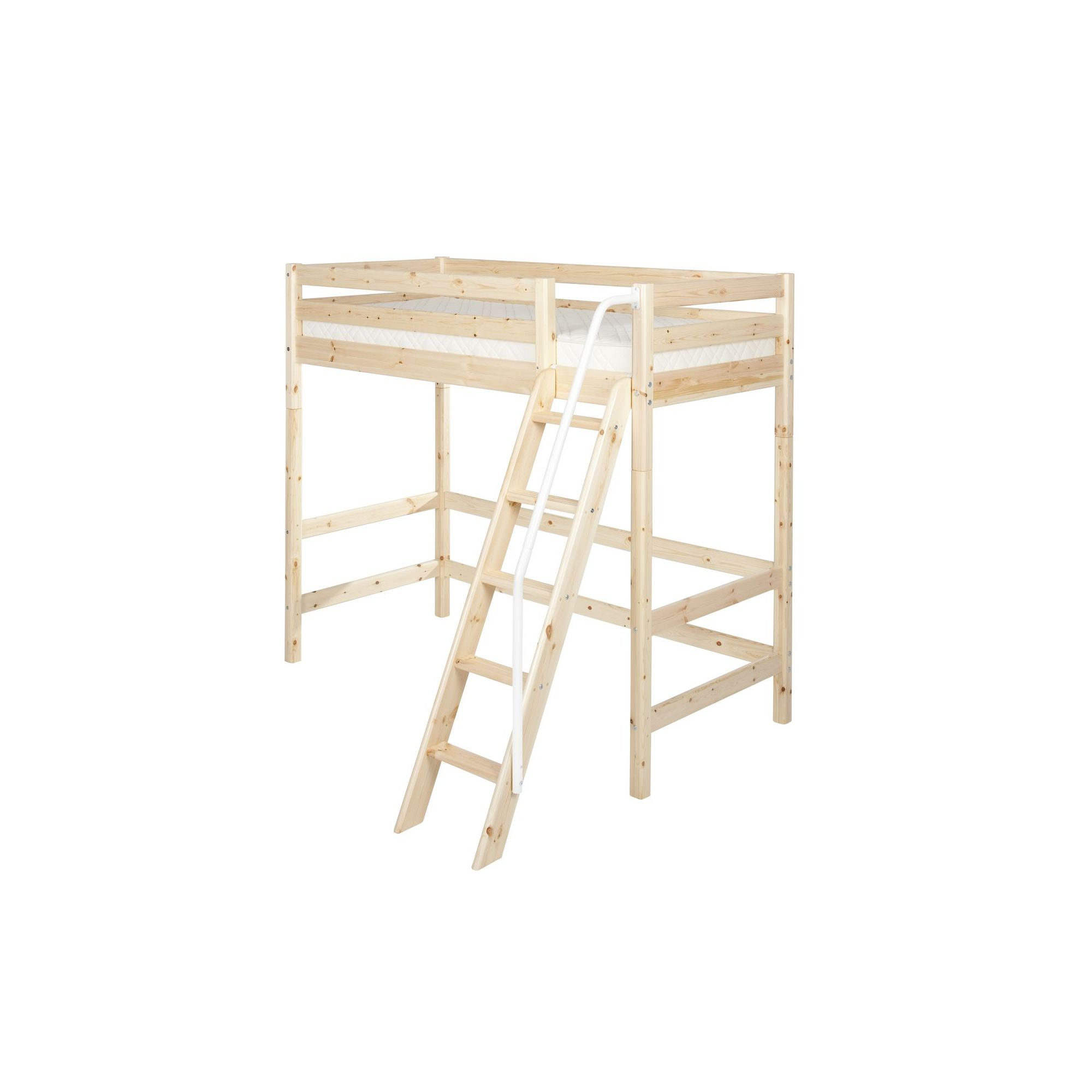 Flexa Classic High Bed with Slanting Ladder and Railing - White at Tesco Direct