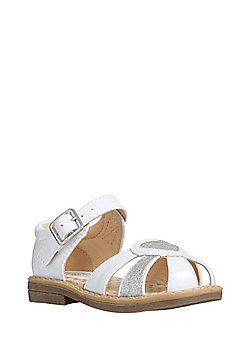 F&F Glitter Heart Sandals - White