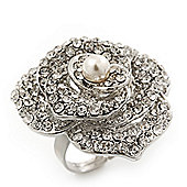 Large Clear Crystal 'Rose' Cocktail Ring In Rhodium Plating - Adjustable (Size 7/9) - 3.5cm Diameter