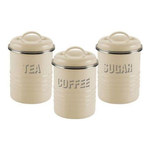 buy typhoon vintage tea coffee and sugar canisters cream. Black Bedroom Furniture Sets. Home Design Ideas