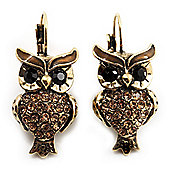 Antique Gold Tone Citrine Crystal Owl Drop Earrings