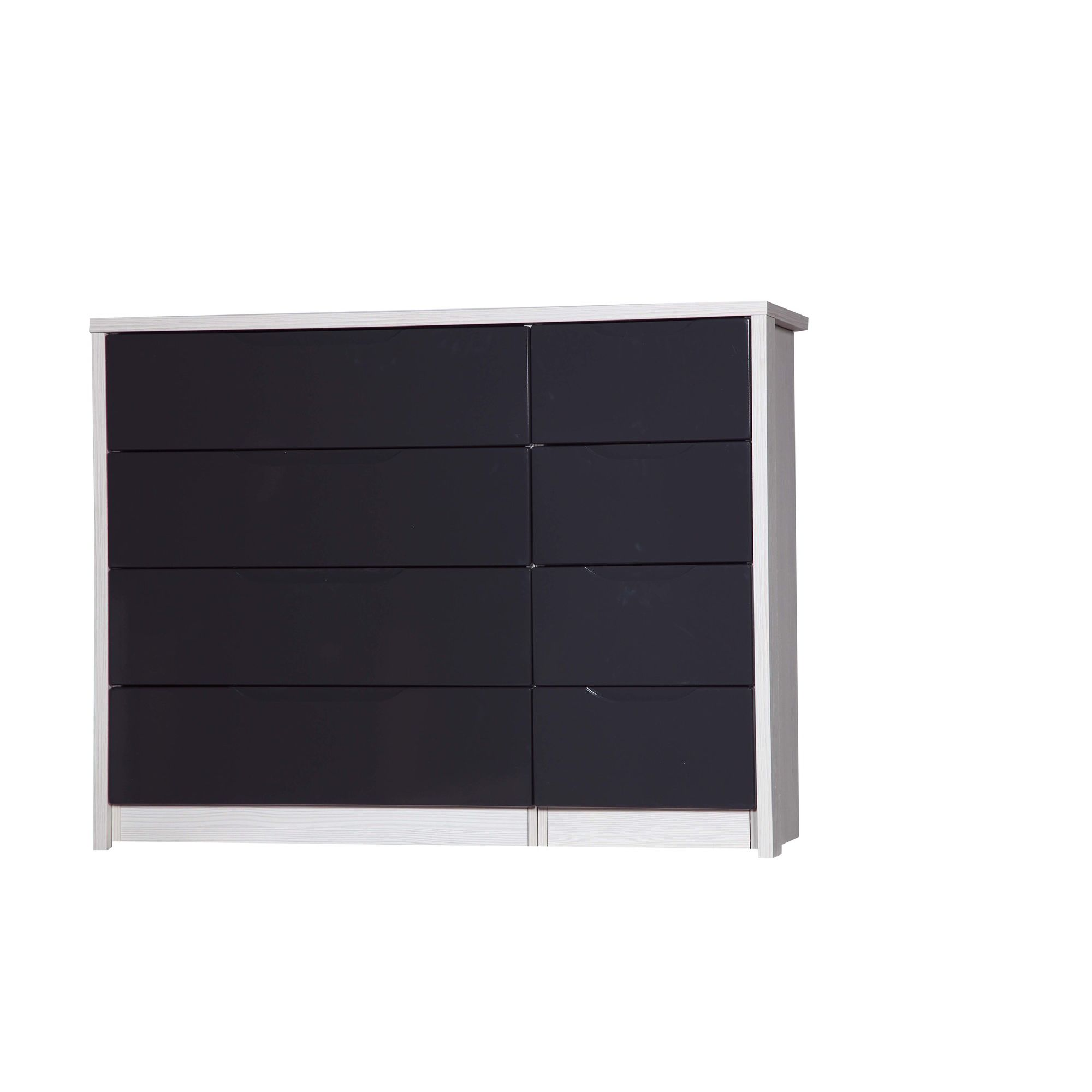 Alto Furniture Avola 8 Drawer Double Chest - White Avola Carcass With Grey Gloss at Tesco Direct