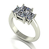 18ct White Gold 3 Stone Radiant Moissanite Trilogy Ring