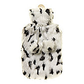 Linea Black And White Faux Fur Hot Water Bottle In Brown