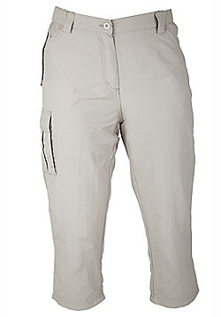 Travel Womens Capri Anti Mosquito Three Quarter Length Pedal Pushers Trousers - Beige