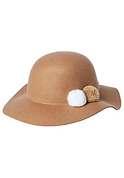 F&F Pom Pom Wool Felt Floppy Hat - Tan