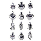 Set Of 12 Silver Glass Christmas Bauble Decorations