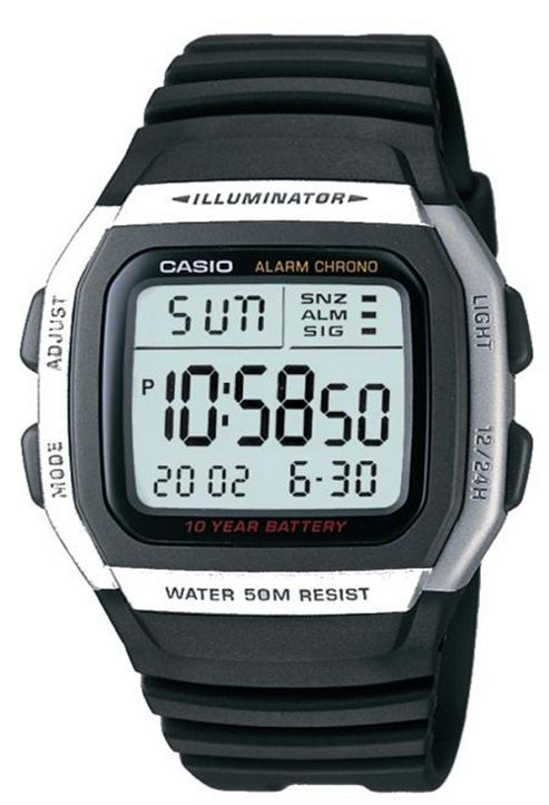 Casio Digital Watch with Extended Battery Life Timer Black and Silver