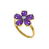 QP Jewellers Diamond & Amethyst Foliole Ring in 14K Gold
