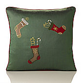Christmas Stockings Green Embroidered Cushion - 46x46cm