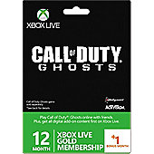 Xbox Live 12 month +1 month Gold Call of Duty Ghosts Branded