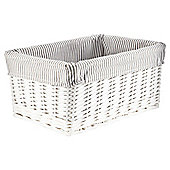 Tesco White Wicker Grey Stripe Lined Media Storage