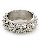 Burn Silver Effect Stud Bangle Bracelet - 17cm Length (for smaller wrists)
