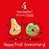 4th Wedding Anniversary Greetings Card - Fruit Anniversary