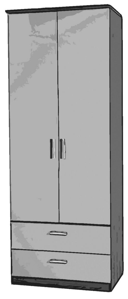 Welcome Furniture Mayfair Tall Wardrobe with 2 Drawers - White - Black - Ebony