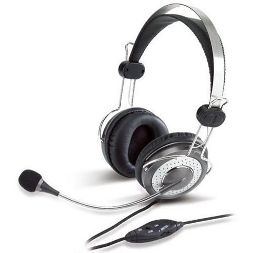 Genius HS-04SU Headband Headset With Noise Cancelling Microphone - Silver/Black