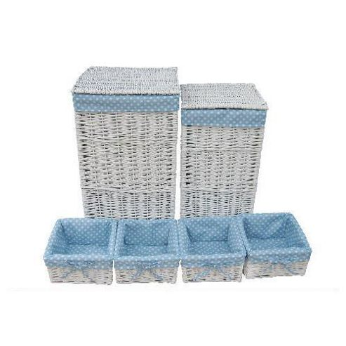 Wicker Valley Square Laundry and Storage in Blue Spot (Set of 6)