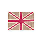 Lorena Canals Flag Linen and Fuchsia Children's Rug - 120 cm W x 160 cm D (3 ft 11 in x 5 ft 3 in)