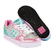Heelys Motion Plus Silver/Light Pink/Light Blue Heely Shoe - Silver