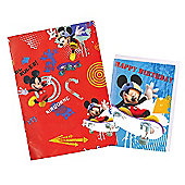 Mickey Mouse Wrapping Paper, Birthday Card and Gift Tag Pack