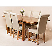 Farmhouse Rustic Solid Oak 160 cm Butterfly Extending Dining Table with 6 Washington Chairs (Ivory)