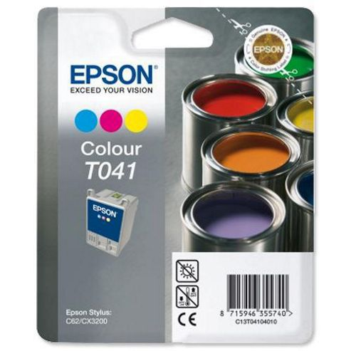 Epson T041 3 Colour Ink Cartridge (Cyan-Magenta-Yellow) for Stylus C62-CX3200 Printers