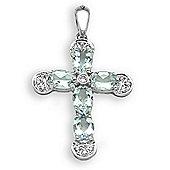 Jewelco London 18 Carat White Gold Diamond-7pt Aqua Marine-1.83ct Cross