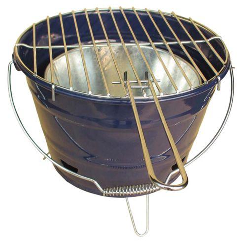 Tesco Small Charcoal Bucket BBQ, Navy Blue