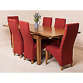 Farmhouse Rustic Solid Oak Extending 160 - 240 cm Dining Table with 6 Red Lola Fabric Chairs