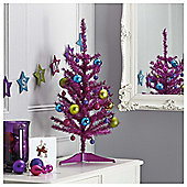 Tesco Pink Tinsel Christmas Tree, 2.5ft