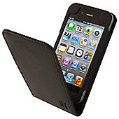 Tortoise™ Look Genuine Leather Flip Case iPhone 4/4S Black