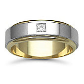 Jewelco London 9ct Yellow & White Gold 7mm 2-Piece Flat Diamond set 15pts Solitaire Wedding / Commitment Ring