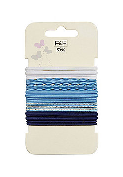 F&F 16 Pack of Hair Elastics - Blue