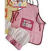 Junior Chef Apron and Hat Set Pink Age 2-5