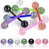 Urban Male Pack Of Seven Flexible Teflon Straight Body Piercing Barbells & UV Glitter Balls
