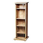 5 Tier Shelf Unit / Display Cabinet With Glass Door - Oak
