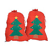 Large Felt Christmas Gift Bag Santa Sack - Set of Two Red