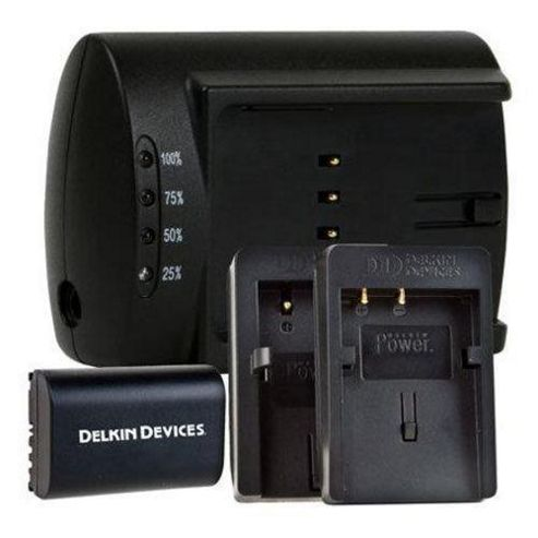 Delkin Dd/Duc Lpe6 Combo-Uk Universal Dual Battery Charger, Canon Lp-E6 Battery and Plate Black