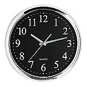 Premier Housewares Circle Chrome Effect Wall Clock - Black Face