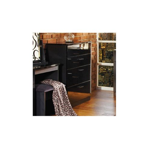 Welcome Furniture Mayfair 4 Drawer Deep Chest - Light Oak - Black - Ebony