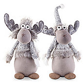 Dylan & Daryl the Pair of Grey Plush Fabric 32cm Christmas Reindeer Ornaments