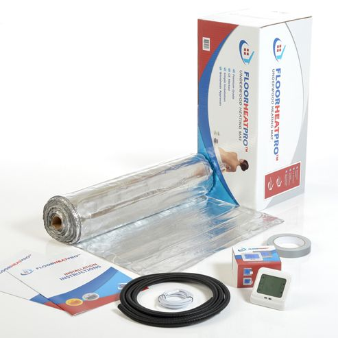 6.0m² - FLOORHEATPRO™ Electric Underfloor Heating Kit - 140w/m² - 840 watts including Touchscreen Thermostat - For use under laminate/wood Floors