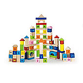 Viga Wooden 100 Piece Alphabet and Number Blocks