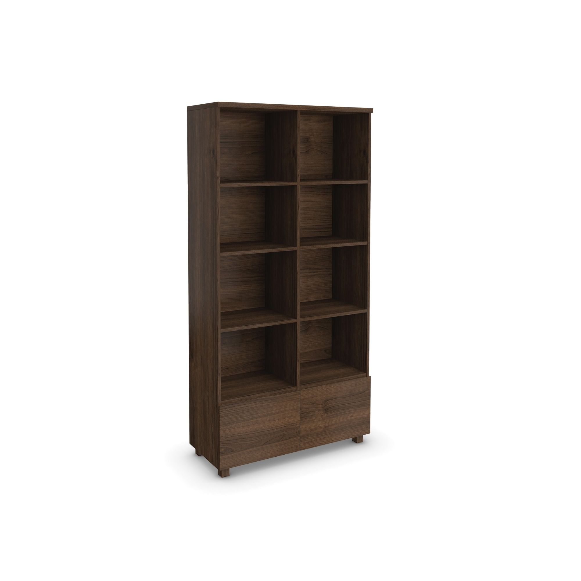 Urbane Designs Hadlee Contemporary Walnut Livingroom 2 Door Double Bookcase at Tesco Direct