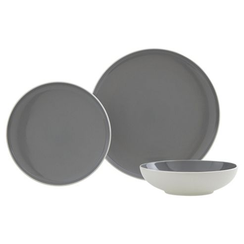 buy slate grey 12 piece 4 person dinner set from our. Black Bedroom Furniture Sets. Home Design Ideas