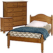 Nordic Pine Bedside, 2+4 Chest, Single Bed Package