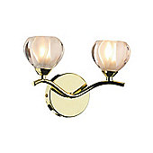 Modern Brass Wall Lamp with Opal Glass Shades