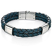Mens Fred Bennett Blue Leather Bracelet with Steel